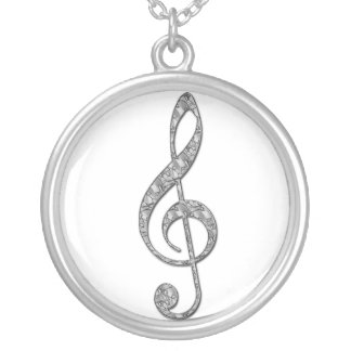 Metallic Treble Clef  Necklace