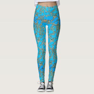 Metallic Turquoise Design Leggings