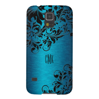 Metallic Turquoise With Black Floral Swirls Galaxy S5 Cover