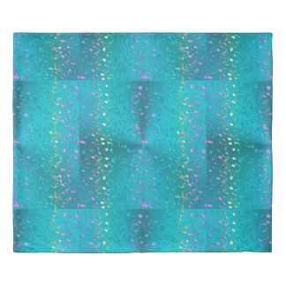 Metallic Turquoise with Colorful Music notes Duvet Cover