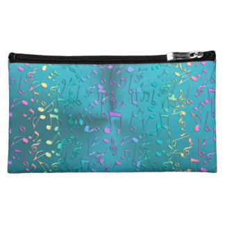 Metallic Turquoise with Colorful Music notes Makeup Bag