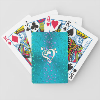 Metallic Turquoise with Colorful Music notes Poker Deck
