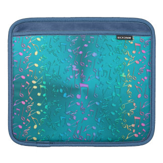 Metallic Turquoise with Colorful Music notes Sleeves For iPads