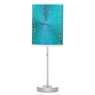 Metallic Turquoise with Colorful Music notes Table Lamp