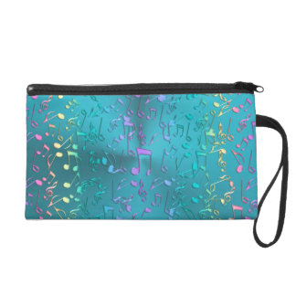 Metallic Turquoise with Colorful Music notes Wristlet