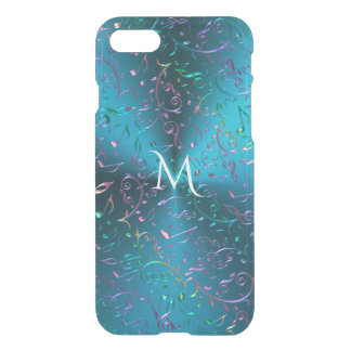 Metallic Turquoise with Sparkling Music Notes iPhone 7 Case