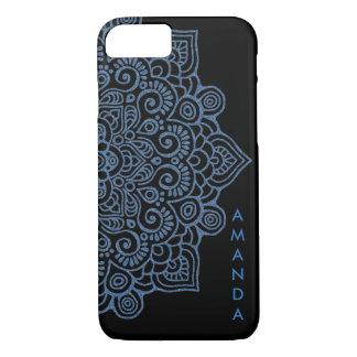 METALLIC Vintage BLUE Intricate Lace Mandala black Case-Mate iPhone Case