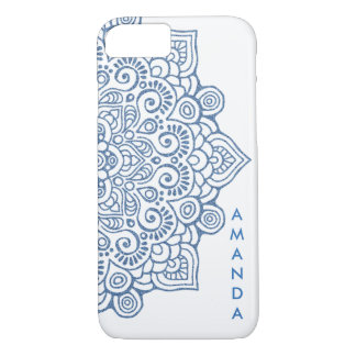 METALLIC Vintage BLUE Intricate Lace Mandala white iPhone 8/7 Case