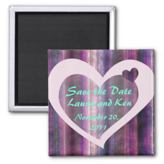 Metallic Violet Heart Save the Date Magnet