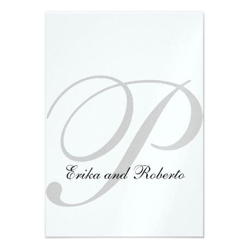 Metallic White Paper Monogram Wedding RSVP Cards Personalized Invites