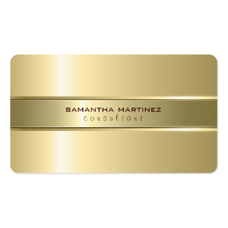 Metallic Yellow Gold Design Stainless Steel Look Pack Of Standard Business Cards