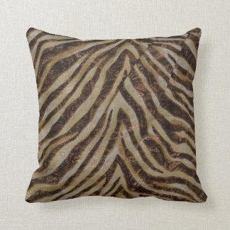 Metallic Zebra Animal Print bronze gold copper tan Throw Pillow