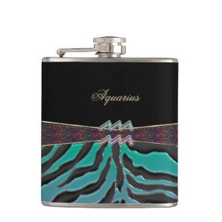 Metallic Zebra Zodiac Sign Aquarius Flasks