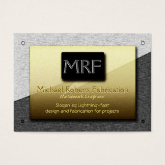 Metalwork Engineer Monogram - gold on steel Business Card