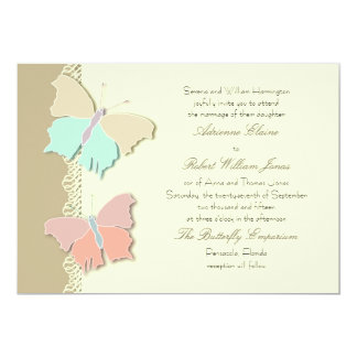 "Metamorphosis Artistic Butterfly Wedding  Design 5"" X 7"" Invitation Card"