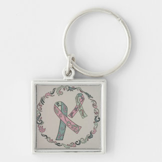 Metastatic Breast Cancer Ribbons Silver-Colored Square Keychain