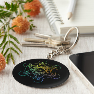 Metatron Cube Sacred Geometry Basic Round Button Keychain