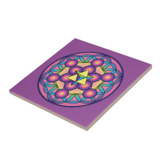 Metatron's Cube Merkaba on Flower of life Ceramic Tiles