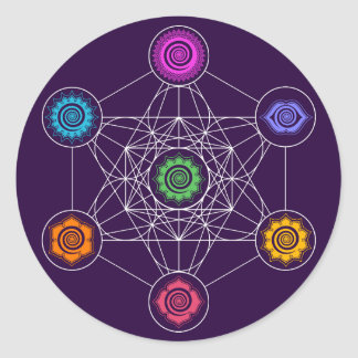 Metatrons Cube, Chakras, Cosmic Energy Centers Classic Round Sticker