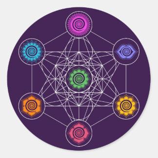 Metatrons Cube, Chakras, Cosmic Energy Centers Round Sticker