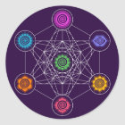 Metatrons Cube, Chakras, Cosmic Energy Centres Classic Round Sticker
