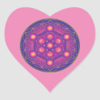 Metatron's Cube in Flower of life Heart Sticker