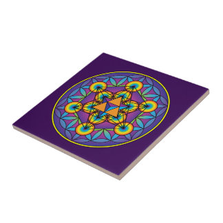 Metatron's Cube Merkaba on Flower of Life Ceramic Tile