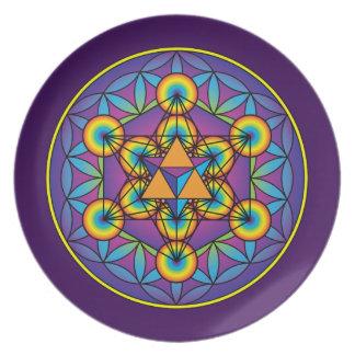 Metatron's Cube Merkaba on Flower of Life Plate