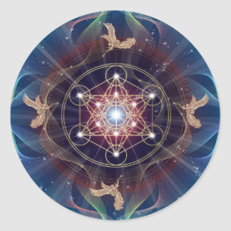 Metatron's Cube - Merkabah - Sacred Geometry Classic Round Sticker