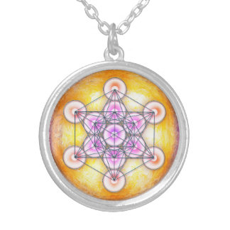 Metatrons cube - sun I Silver Plated Necklace