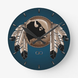 Metis Clock First Nation Spirit Buffalo Wall Clock