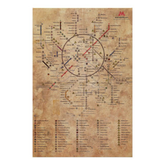 Metro 2033 Aged Map Poster
