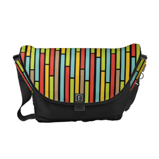 Metro Retro Skinny Rectangle Pattern on Black Courier Bags