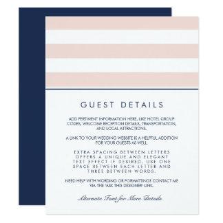 Metro Stripe Guest Information Card | Blush & Navy