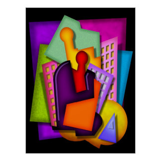 metropolis art deco abstract painting poster