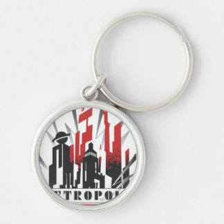Metropolis Art Deco Silver-Colored Round Keychain