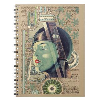 Metropolis Steampunk Woman Notebooks