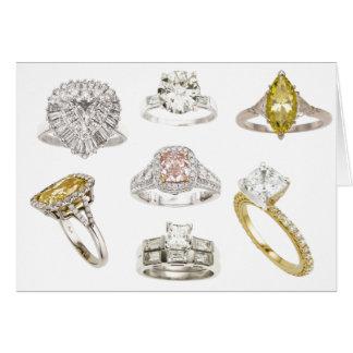 Mettez un anneau là-dessus blanc de bagues de fian carte de vœux
