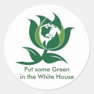 Mettez un certain vert dans la Maison Blanche Autocollants Ronds