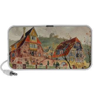 Metzendorf Watercolor German Architecture Vintage Speaker System
