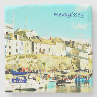 Mevagissey Cornwall England Watercolor Stone Coaster