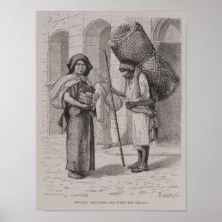 Mexicain Tortillera et vendeur de tapis de paille Poster