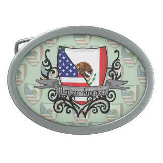 Mexican-American Shield Flag Belt Buckle