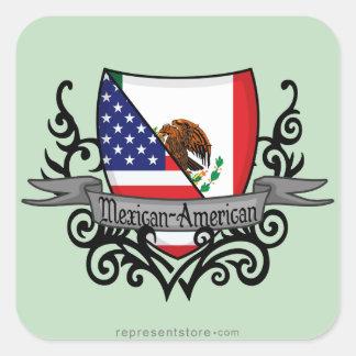 Mexican-American Shield Flag Square Sticker