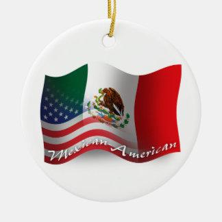Mexican-American Waving Flag Round Ceramic Ornament