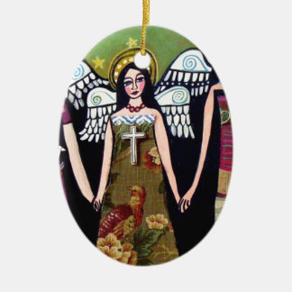 Mexican Angels by Heather Galler Ceramic Oval Ornament
