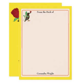 Mexican Art Crow & Rose Personalized Stationery Card