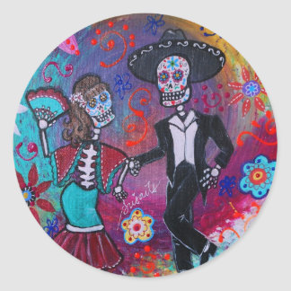 Mexican Bailar Mariachi Dancing Couple by prisarts Classic Round Sticker