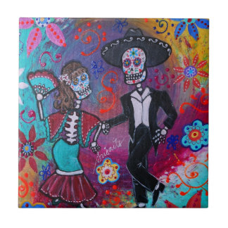 Mexican Bailar Mariachi Dancing Couple by prisarts Tile
