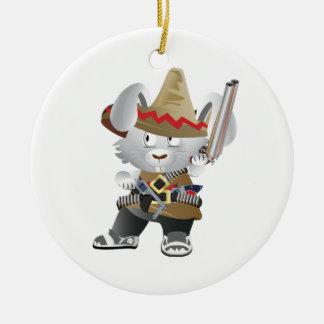 Mexican Bandit Bunny Round Ceramic Ornament